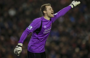 Liverpool's Simon Mignolet reacts during their English Premier League soccer match against Stoke City at Anfield in Liverpool