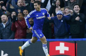 Chelsea's Eden Hazard celebrates after scoring during their English Premier League soccer match against Hull City at Stamford Bridge in London