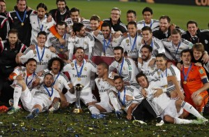 Real Madrid players celebrate winning their Club World Cup final soccer match against San Lorenzo at Marrakesh
