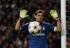 Real Madrid's goalkeeper Casillas reacts during their Champions League Group B soccer match against Liverpool at Santiago Bernabeu stadium in Madrid